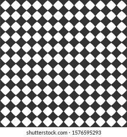 Abstract checkered seamless pattern with black diamonds on white background