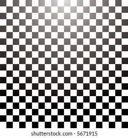 Abstract checkered tile with a radial gradient in black and white