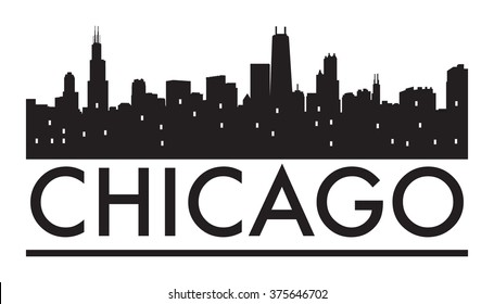 Abstract Chicago skyline, with various landmarks, vector illustration