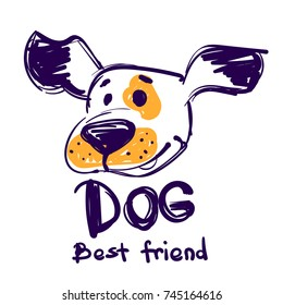 Abstract childish illustration with hand drawn cartoon animal dog face, big nose and text best friend.
