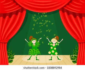 Abstract children's theater. Little girls on the stage of the theater. The play in the kindergarten. Holiday of the meeting of spring. Young actresses are spring and summer. Vector illustration