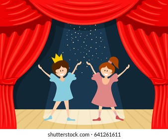 Abstract children's theater. Little girls on the stage of the theater. The play in the 