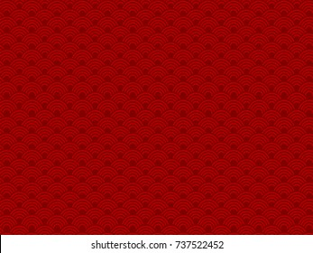 Abstract Chinese New Year Background Vector Design. Vector illustration of chinese red gradient wave circle background.