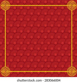 Abstract chinese red background and gold border isolated vector illustration