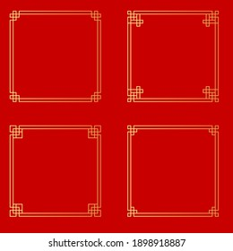 Abstract Chinese style golden frame collection set. Vector Illustration