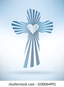 Abstract christian cross with rays and heart