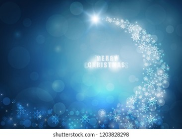 Abstract christmas 2019 bokeh blue color background. vector illustration
