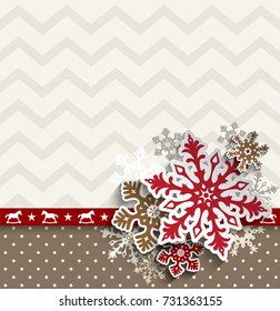 abstract christmas background with decorative snowflakes and chevron pattern, vector illustration, eps 10 with transparency