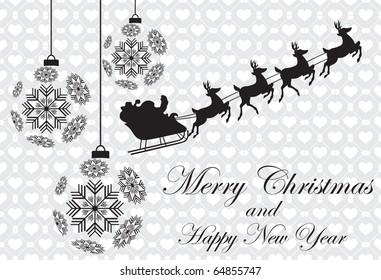 Abstract christmas background with Santa & christmas balls