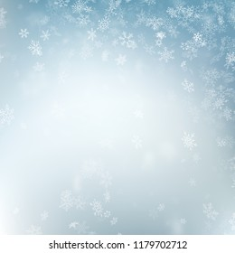 Abstract Christmas background with snowflakes. Elegant blue winter template. Eps 10