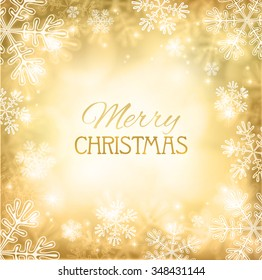 Abstract Christmas background with snowflakes and place for text. Gold abstract mesh background. Vector illustration. It can be used for decorating of invitations, greeting cards. Eps10