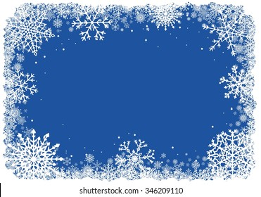 Abstract Christmas background. Winter frame with snowflakes over blue background. Vector illustration