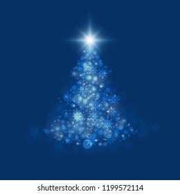 Abstract christmas bokeh blue color background. vector illustration