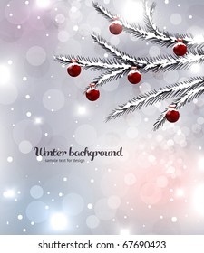 Abstract Christmas card with white snowflakes, winter fur tree branches, baubles and lights