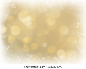 Abstract Christmas gold background with white frame and copy space. Gold abstract mesh background. Snowflakes border on blurred bokeh gold template. EPS 10