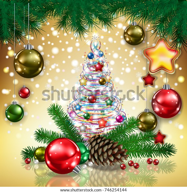 Abstract Christmas golden greeting with tree decorations and pine cone
