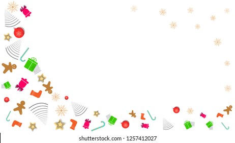 Abstract Christmas greeting card New year template. Memphis banner with Christmas toys and abstract geometric shapes. xmas vector illustration on white background