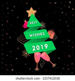 Abstract Christmas greeting card template with green paper cut Christmas tree in origami style. Best wishes 2019, New year dark Memphis banner with bells, glasses of champagne abstract geometric shape