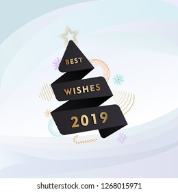 Abstract Christmas greeting card template with black paper cut Christmas tree in origami style. Best wishes 2019, New year dark Memphis banner with bells, candy cane, balls, abstract geometric shapes