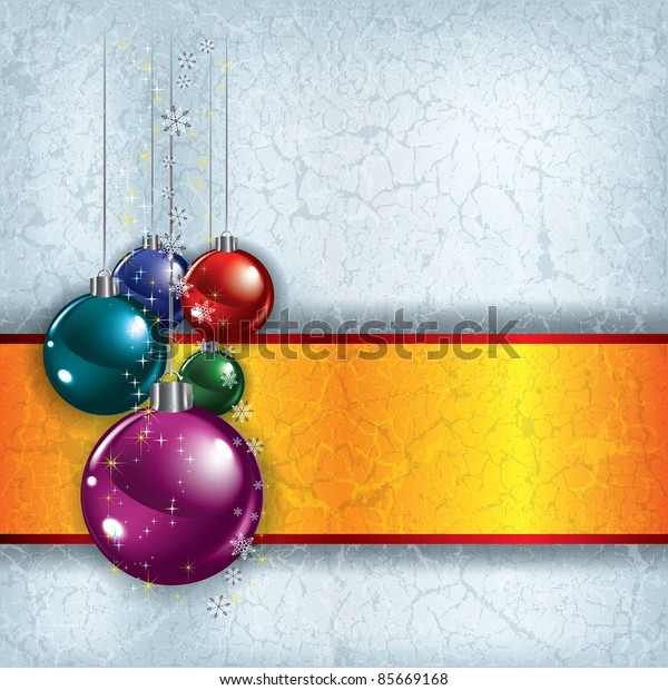 Abstract Christmas grunge background with decorations on grey