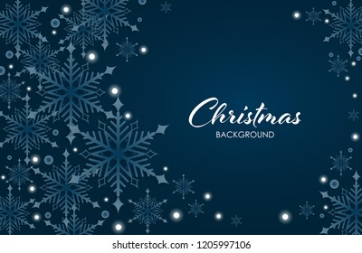Abstract Christmas and New Years Background with white snowflakes, circle shape on blue background. Xmas card.