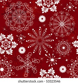 Abstract christmas red seamless  pattern with handwork snowflakes (vector)