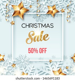 Abstract Christmas sale offer banner design with frame, beauty background, golden stars, snowflakes and ribbons