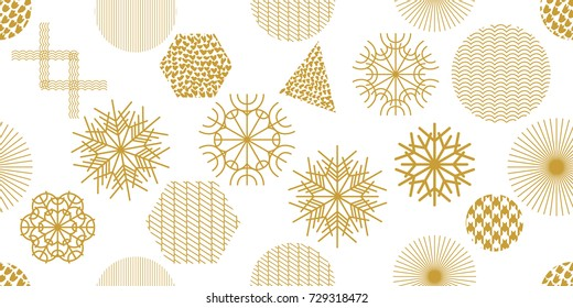 Abstract Christmas seamless pattern with geometric motifs. Snowflakes, triangles, hexagons and circles with different ornaments. Retro textile collection. On white background.