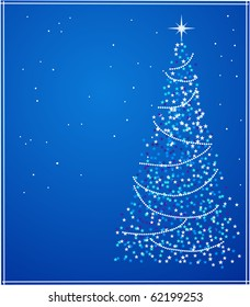 Abstract  christmas star tree on blue background