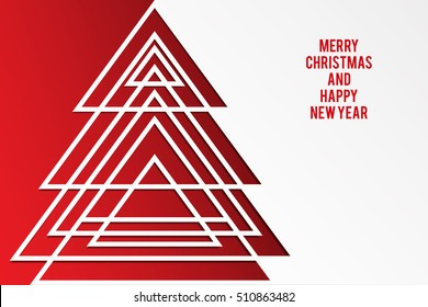 Abstract christmas tree background. Merry Christmas and Happy New Year card.
