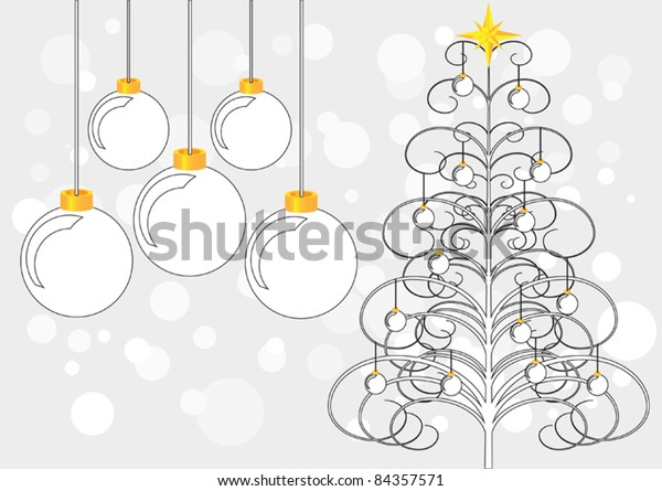 An abstract Christmas Tree with baubles and star. Five larger baubles are to one side and the background is an abstract rendition of snow.