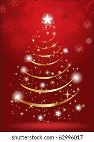abstract christmas tree with gold color vector illustration
