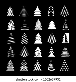 Abstract Christmas Tree Icons. White Silhouette Set - Isolated On Black Background - Vector Illustration. Collection Of Xmas Tree Icons. Abstract Art. Flat Pictogram. Christmas Trees Modern Silhouette