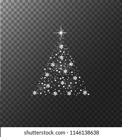Abstract Christmas tree. Isolated on transparent background. Vector.