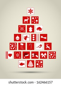 Abstract Christmas tree made of icons card