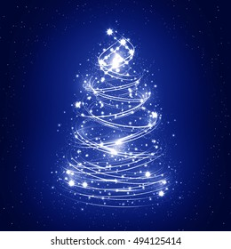 Abstract christmas tree on blue background with snowflakes