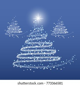 Abstract Christmas Tree on Blue Background