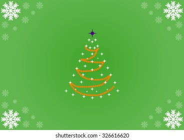 abstract Christmas tree on green background and snowflakes