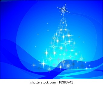 abstract christmas tree over blue background