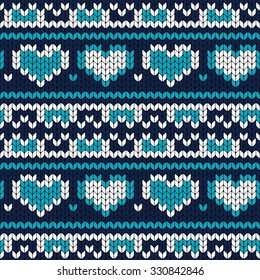 Abstract Christmas vector seamless knitting pattern. Heart included in pattern design.