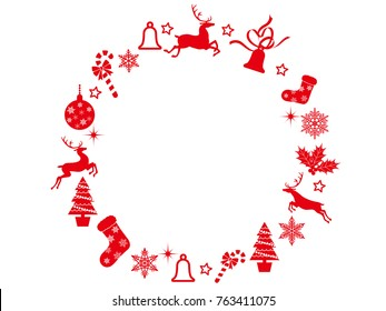 An abstract Christmas wreath frame with assorted Christmas graphic elements, vector illustration.