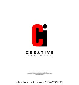 abstract CI logo letters design concept in shadow shape