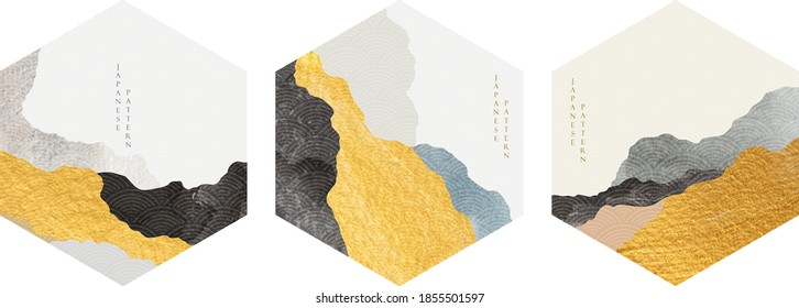 Abstract circle backgrounds in Japanese style vector. Curve element with gold and black texture in oriental style. Logo and icon design.