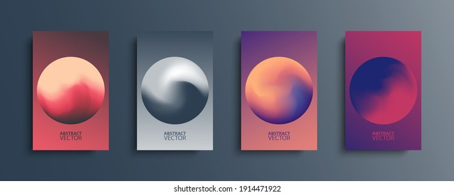 Abstract circle backgrounds set with modern abstract color gradient patterns. Colourful gradient orbs round shapes collection for your design. Vector illustration.