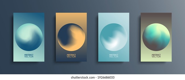 Abstract circle backgrounds set with modern abstract dark color gradient patterns. Colourful gradient orbs round shapes collection for your design. Vector illustration.
