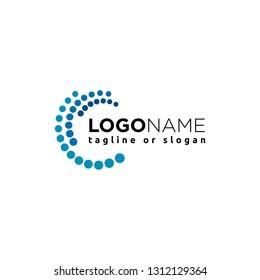 Abstract circle composition logo design concept