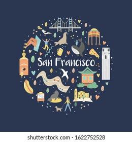 Abstract circle design with San Francisco landmarks and symbols