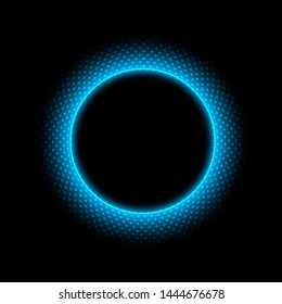 Abstract circle with dots light effect on black background. Vector illustration.