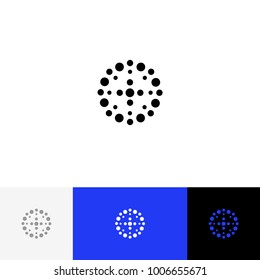 Abstract circle with dots vector. Minimalism logo, icon, symbol, sign from. Flat logotype design with blue color for company or brand.