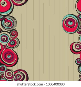 abstract circle flowers border print seamless pattern